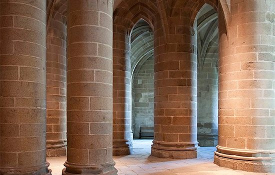 841-05960477 © robertharding / Masterfile Model Release: No Property Release: No Crypt of the Massive Pillars, Mont St. Michel Abbey, UNESCO World Heritage Site, Normandy, France, Europe